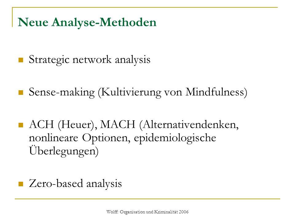 Wolff: Organisation und Kriminalität 2006 Neue Analyse-Methoden Strategic network analysis Sense-making (Kultivierung von Mindfulness) ACH (Heuer), MA
