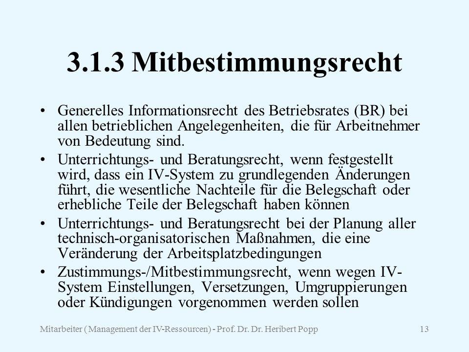Mitarbeiter ( Management der IV-Ressourcen) - Prof. Dr. Dr. Heribert Popp13 3.1.3 Mitbestimmungsrecht Generelles Informationsrecht des Betriebsrates (