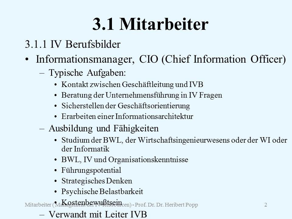 Mitarbeiter ( Management der IV-Ressourcen) - Prof. Dr. Dr. Heribert Popp2 3.1 Mitarbeiter 3.1.1 IV Berufsbilder Informationsmanager, CIO (Chief Infor