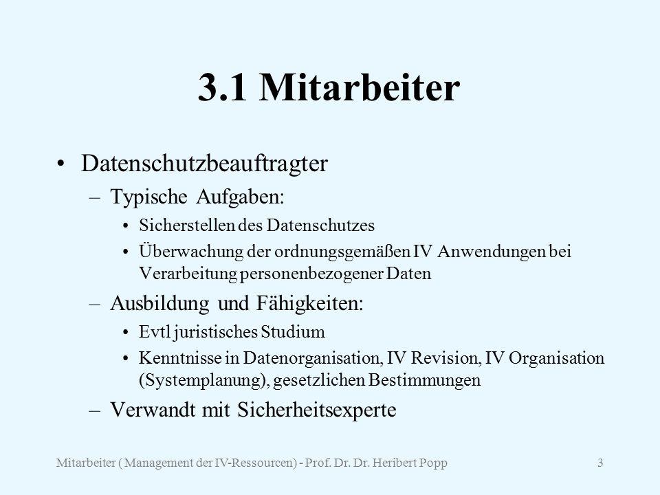 Mitarbeiter ( Management der IV-Ressourcen) - Prof. Dr. Dr. Heribert Popp3 3.1 Mitarbeiter Datenschutzbeauftragter –Typische Aufgaben: Sicherstellen d