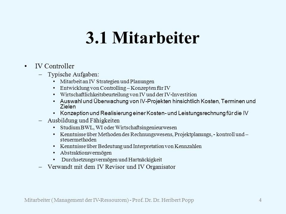 Mitarbeiter ( Management der IV-Ressourcen) - Prof. Dr. Dr. Heribert Popp4 3.1 Mitarbeiter IV Controller –Typische Aufgaben: Mitarbeit an IV Strategie