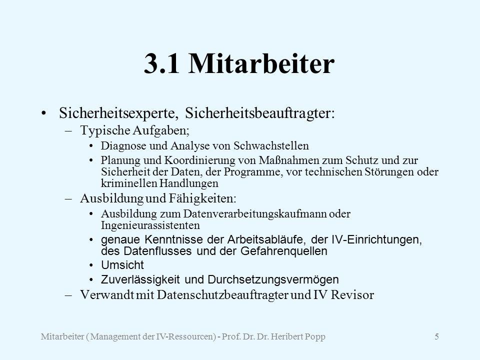 Mitarbeiter ( Management der IV-Ressourcen) - Prof. Dr. Dr. Heribert Popp5 3.1 Mitarbeiter Sicherheitsexperte, Sicherheitsbeauftragter: –Typische Aufg