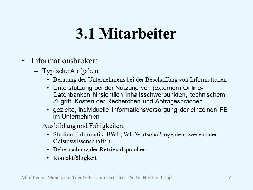 Mitarbeiter ( Management der IV-Ressourcen) - Prof. Dr. Dr. Heribert Popp6 3.1 Mitarbeiter Informationsbroker: –Typische Aufgaben: Beratung des Untern