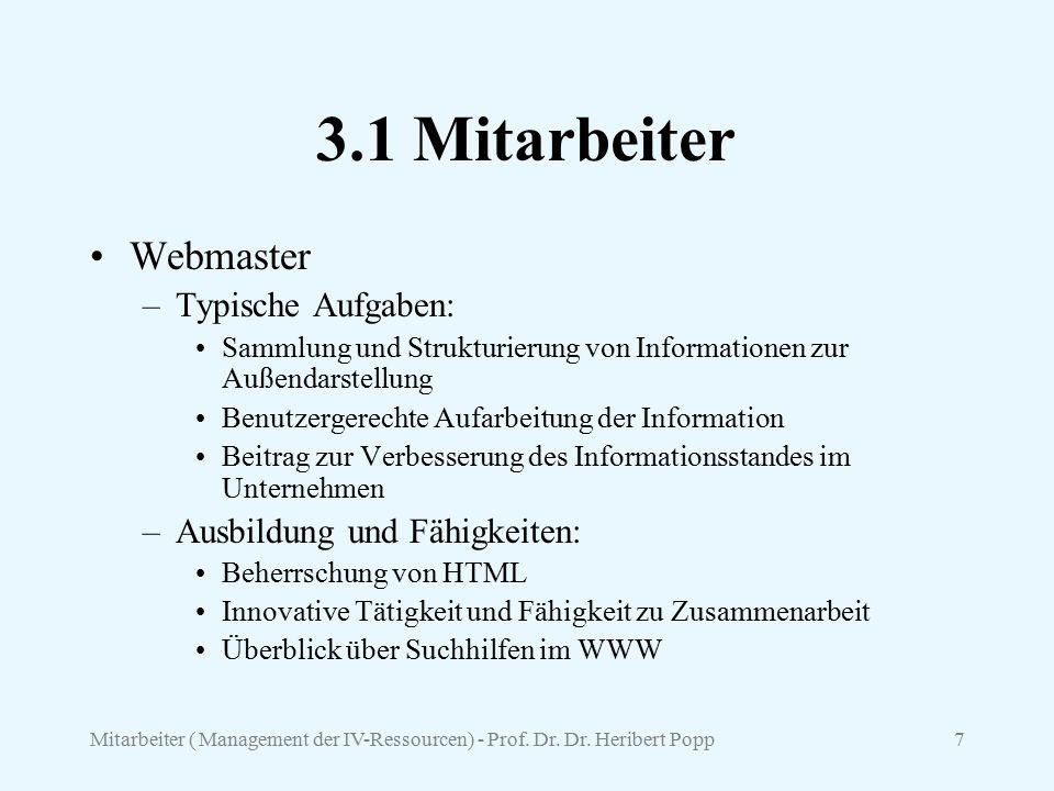 Mitarbeiter ( Management der IV-Ressourcen) - Prof. Dr. Dr. Heribert Popp7 3.1 Mitarbeiter Webmaster –Typische Aufgaben: Sammlung und Strukturierung v