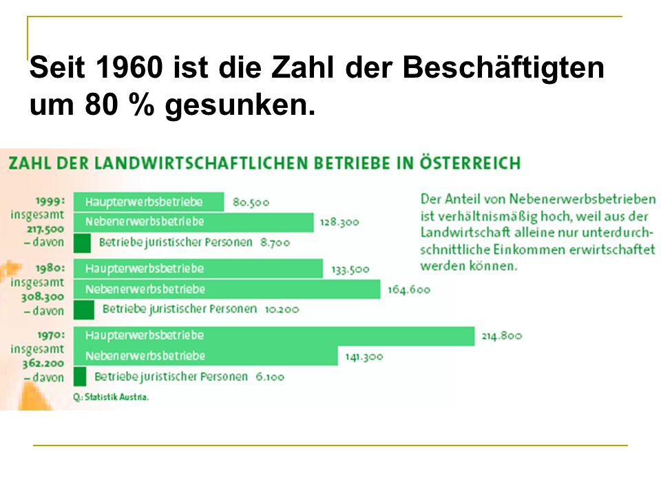 Seit 1960 ist die Zahl der Beschäftigten um 80 % gesunken.