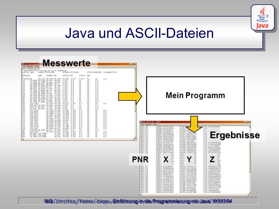 """IKG Dörschlag, Plümer, Gröger """"Einführung in die Programmierung mit Java WS03/04 Dörschlag IKG; Dörschlag, Plümer, Gröger; Einführung in die Programmierung mit Java WS03/04 Java und ASCII-Dateien Mein Programm Messwerte Ergebnisse PNRXYZ"""
