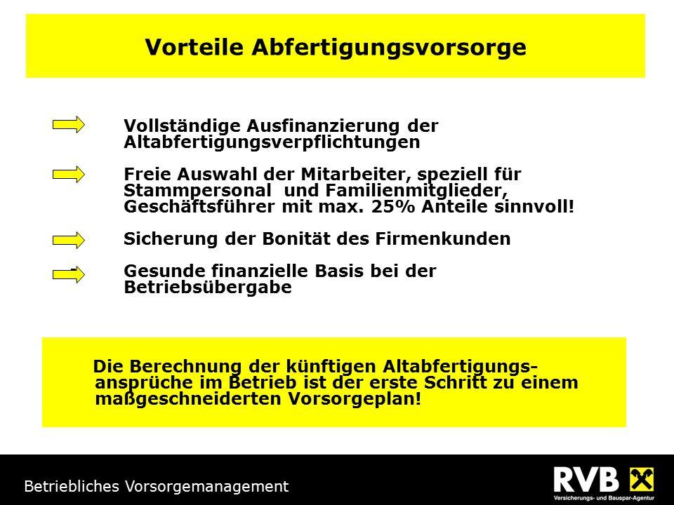 Betriebliches Vorsorgemanagement Vorteile Abfertigungsvorsorge  Vollständige Ausfinanzierung der Altabfertigungsverpflichtungen  Freie Auswahl der M
