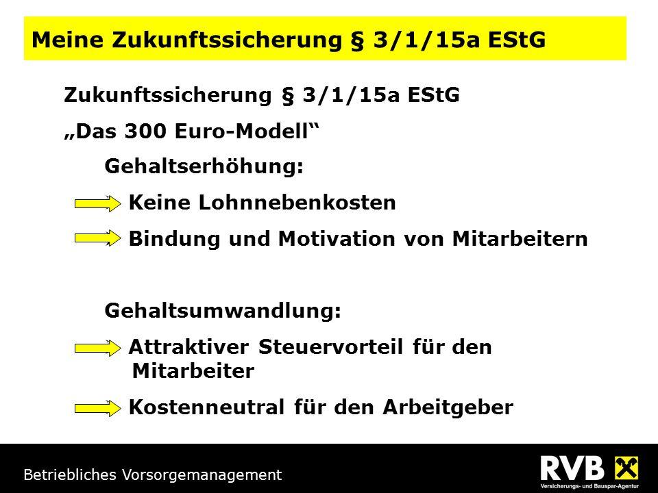 Betriebliches Vorsorgemanagement Gehaltserhöhung:  Keine Lohnnebenkosten  Bindung und Motivation von Mitarbeitern Gehaltsumwandlung:  Attraktiver S