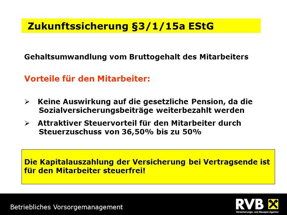 Betriebliches Vorsorgemanagement Gehaltsumwandlung vom Bruttogehalt des Mitarbeiters Vorteile für den Mitarbeiter:  Keine Auswirkung auf die gesetzli