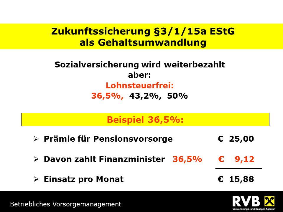 Betriebliches Vorsorgemanagement Beispiel 36,5%:  Prämie für Pensionsvorsorge € 25,00  Davon zahlt Finanzminister 36,5% € 9,12  Einsatz pro Monat € 15,88 Zukunftssicherung §3/1/15a EStG als Gehaltsumwandlung Sozialversicherung wird weiterbezahlt aber: Lohnsteuerfrei: 36,5%, 43,2%, 50%