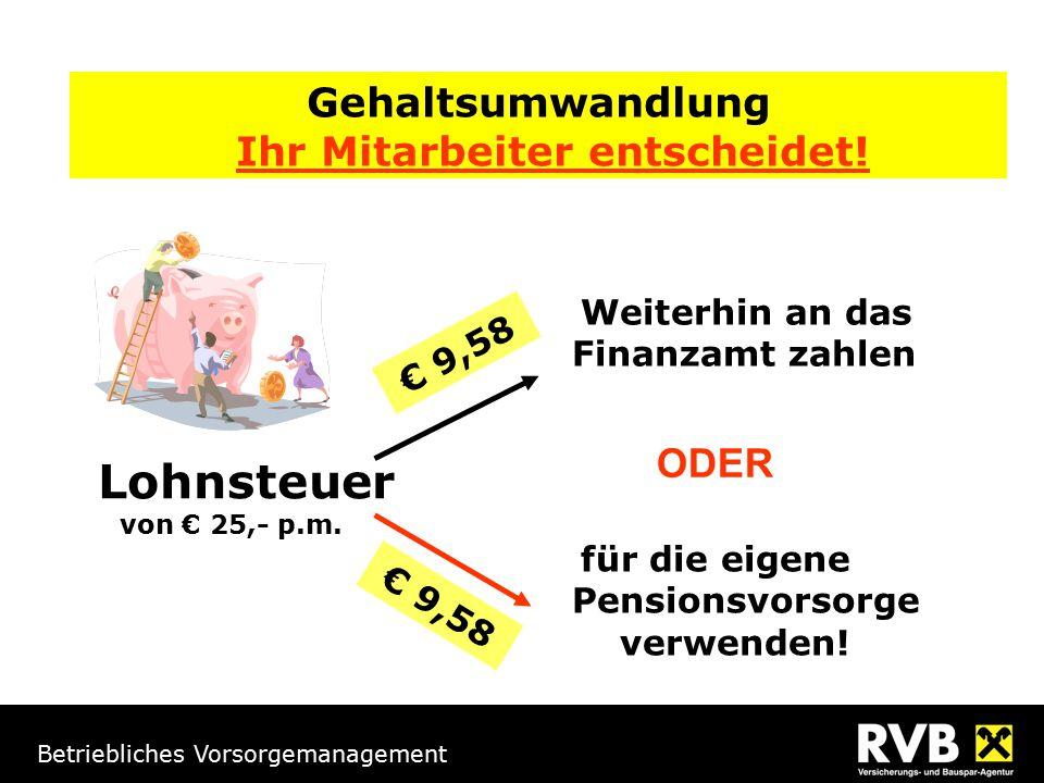 Betriebliches Vorsorgemanagement Gehaltsumwandlung Ihr Mitarbeiter entscheidet! Lohnsteuer von € 25,- p.m. für die eigene Pensionsvorsorge verwenden!