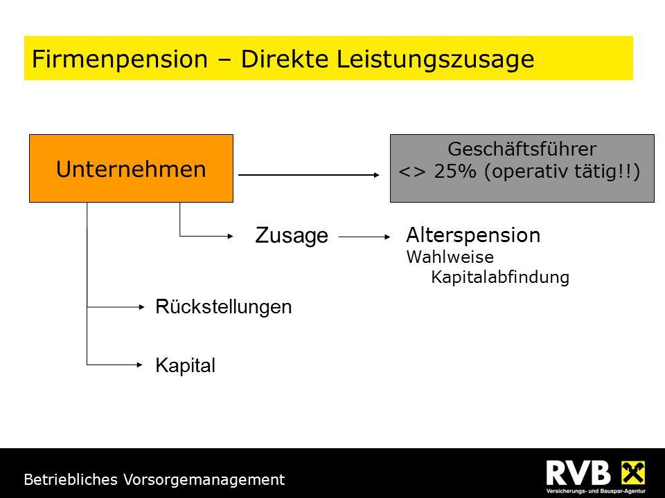 Betriebliches Vorsorgemanagement Firmenpension – Direkte Leistungszusage Unternehmen Geschäftsführer <> 25% (operativ tätig!!) Rückstellungen Kapital