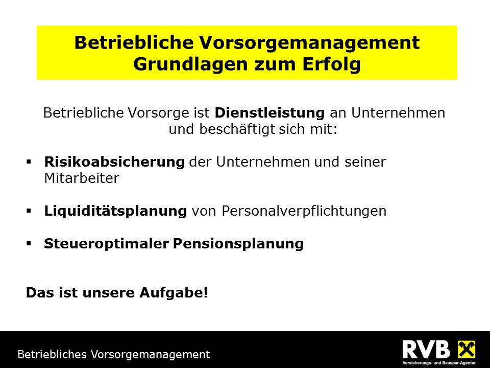 Betriebliches Vorsorgemanagement Inhalt 1.Rahmenbedingungen 2.verpflichtende betriebliche Vorsorge 3.freiwillige betriebliche Vorsorge 4.Zusammenfassung