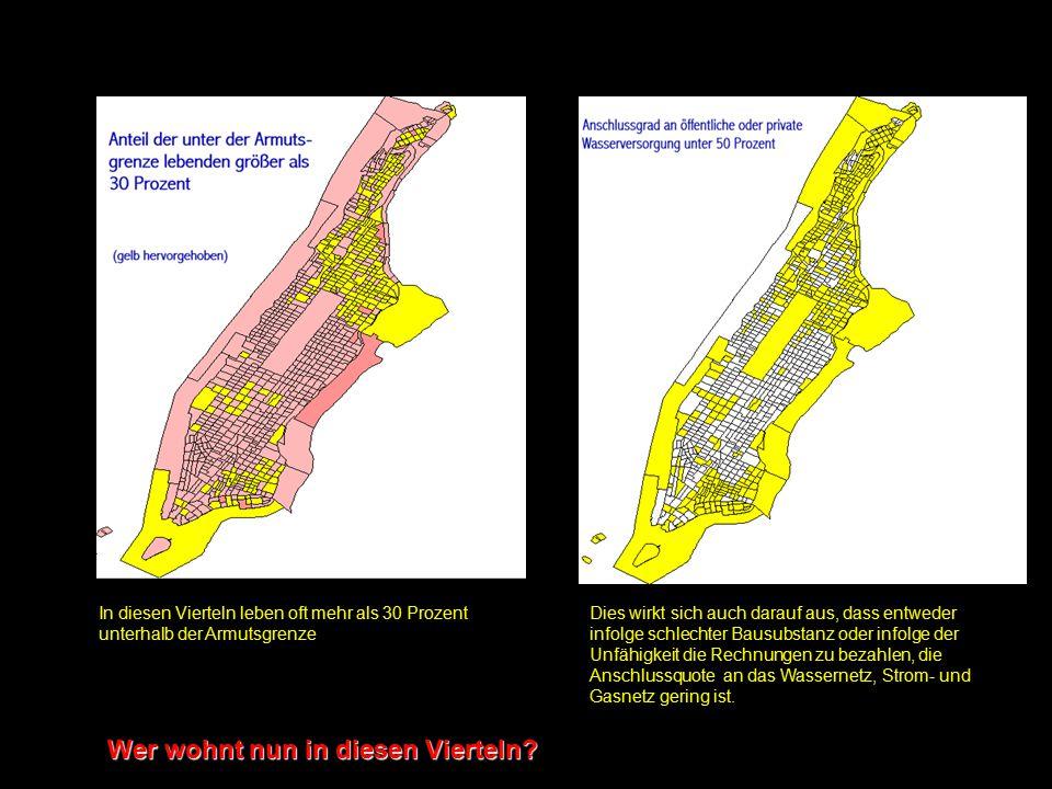 Manhatten u. Bronx - Sozialstruktur a Die unterschiedliche Nutzung Manhattans schlägt sich in der Bevölkerungsdichte nieder. Eine Differenzierung der