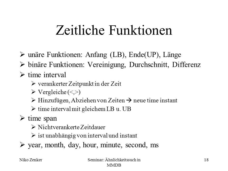 Niko ZenkerSeminar: Ähnlichkeitssuch in MMDB 18 Zeitliche Funktionen  unäre Funktionen: Anfang (LB), Ende(UP), Länge  binäre Funktionen: Vereinigung