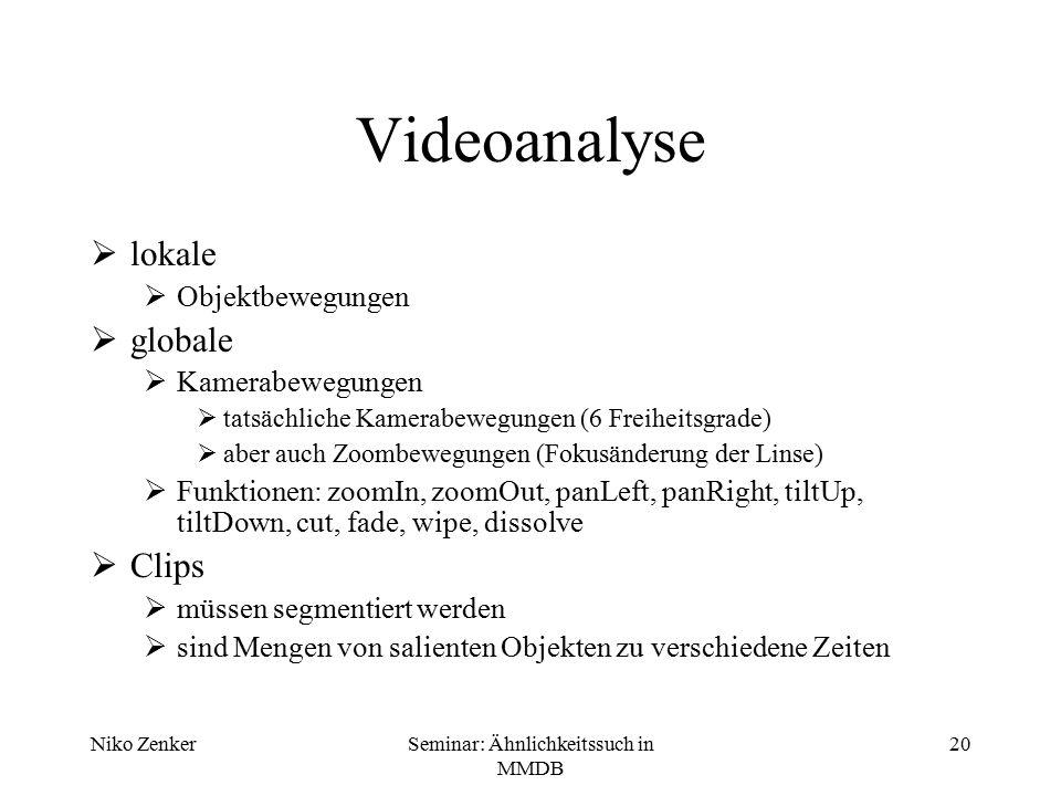 Niko ZenkerSeminar: Ähnlichkeitssuch in MMDB 20 Videoanalyse  lokale  Objektbewegungen  globale  Kamerabewegungen  tatsächliche Kamerabewegungen