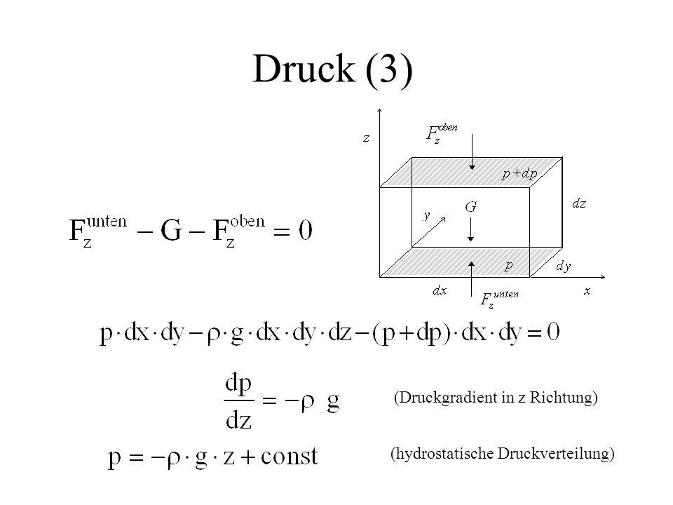 Druck (3) (Druckgradient in z Richtung) (hydrostatische Druckverteilung)