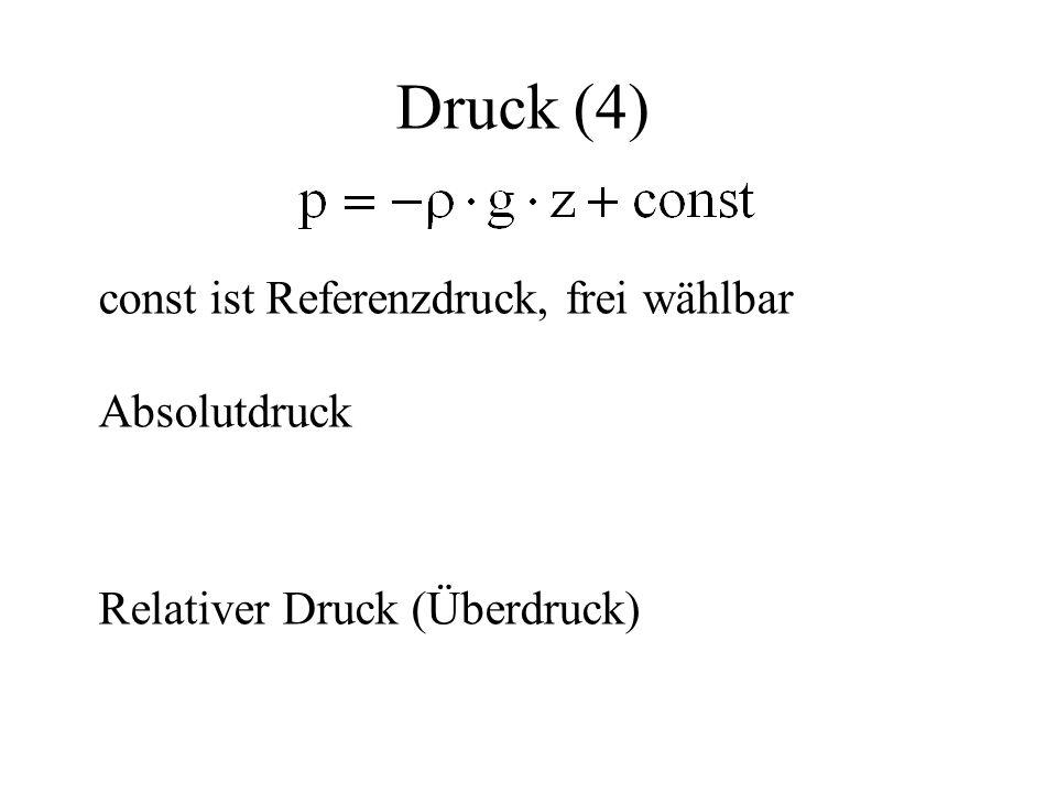 Druck (4) const ist Referenzdruck, frei wählbar Absolutdruck Relativer Druck (Überdruck)