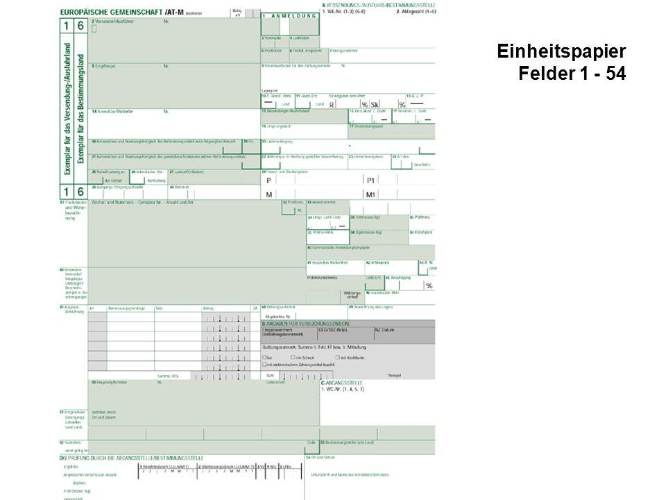 Einheitspapier Felder 1 - 54