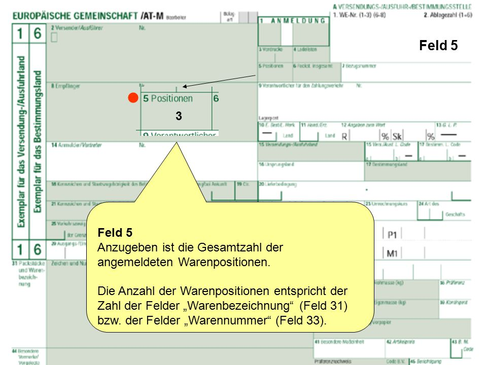 """Feld 5 Feld 5 Anzugeben ist die Gesamtzahl der angemeldeten Warenpositionen. Die Anzahl der Warenpositionen entspricht der Zahl der Felder """"Warenbezei"""