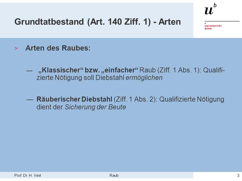 """Prof. Dr. H. Vest Raub 3 Grundtatbestand (Art. 140 Ziff. 1) - Arten > Arten des Raubes: — """"Klassischer"""" bzw. """"einfacher"""" Raub (Ziff. 1 Abs. 1): Qualif"""