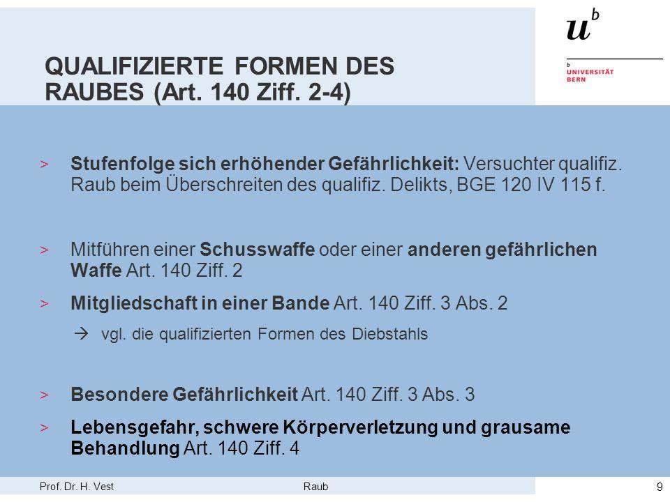 Prof.Dr. H. Vest Raub 10 KONKURRENZEN > Art. 140 konsumiert Art.
