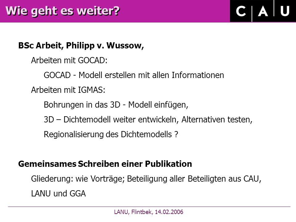 Wie geht es weiter. LANU, Flintbek, 14.02.2006 BSc Arbeit, Philipp v.
