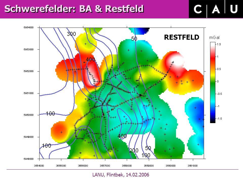 Bougueranomalie Schwerefelder: BA & Restfeld LANU, Flintbek, 14.02.2006 RESTFELD