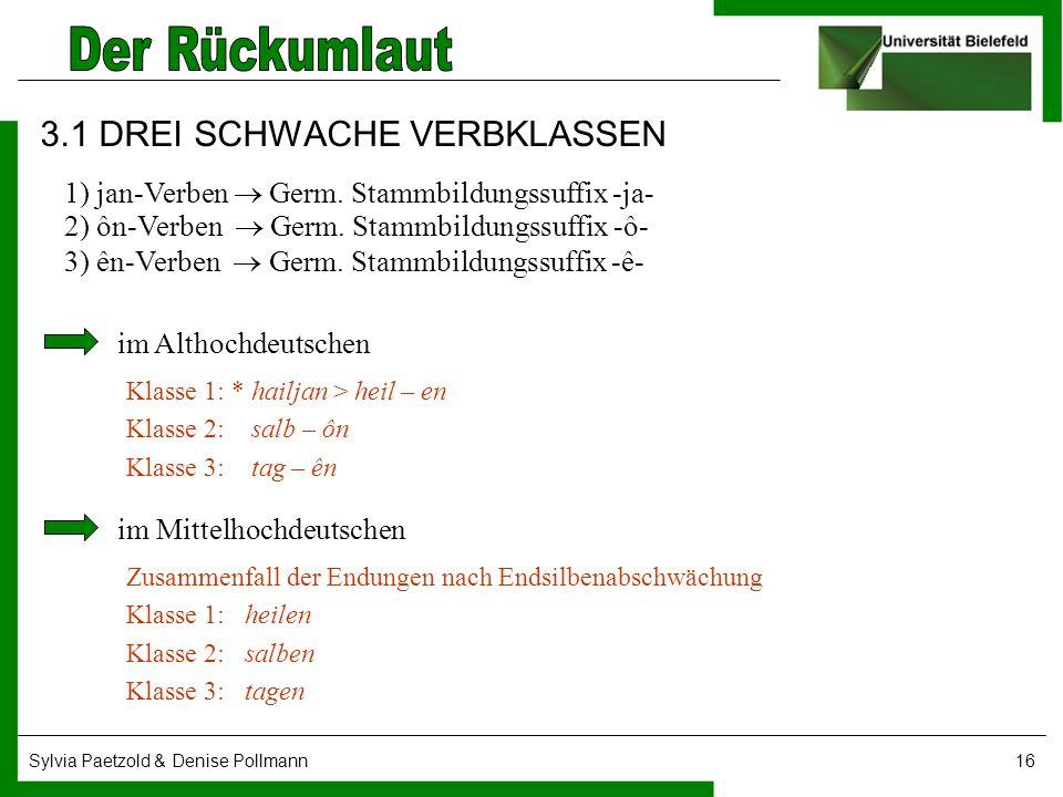 Sylvia Paetzold & Denise Pollmann16 3.1 DREI SCHWACHE VERBKLASSEN 1) jan-Verben  Germ. Stammbildungssuffix -ja- 2) ôn-Verben  Germ. Stammbildungssuf