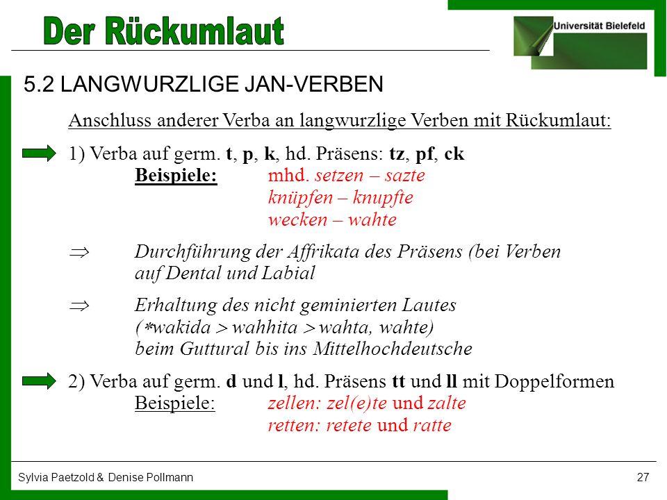 Sylvia Paetzold & Denise Pollmann27 5.2 LANGWURZLIGE JAN-VERBEN Anschluss anderer Verba an langwurzlige Verben mit Rückumlaut: 1) Verba auf germ. t, p