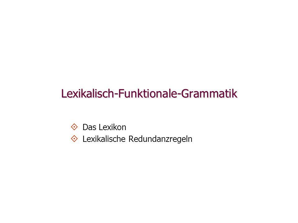 S NP(SUBJ) NP(OBJ)NP(OBJ2)V VP Mary gave the teacher a paper lexikalische Zuweisung grammatischer Funktionen (SUBJ)(OBJ2) (OBJ) Grammatische Funktionen Phrasenstruktur lexikalische Form für give give give< arg1, arg2, arg3) Prädikat-Argument-Struktur(agent)(theme)(goal)