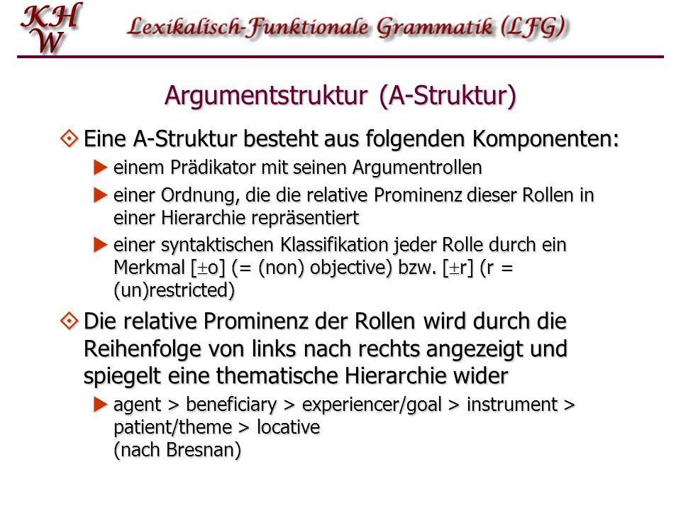 Argumentstruktur (A-Struktur)  Eine A-Struktur besteht aus folgenden Komponenten:  einem Prädikator mit seinen Argumentrollen  einer Ordnung, die d