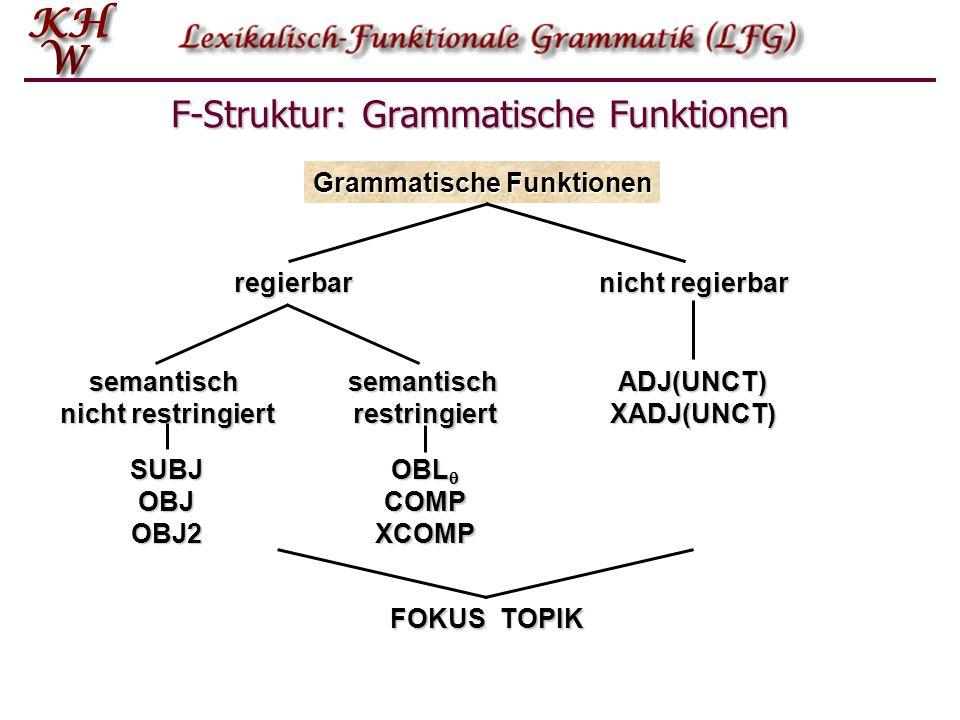 F-Struktur: Regierbare Grammatische Funktionen Semantisch unbeschränkt  Subjekt (SUBJ): der Student:SUBJ schläft  Objekt (OBJ): er kaufte ein Buch:OBJ  sekundäres Objekt (OBJ2): er kaufte seiner Freundin:OBJ2 ein Auto