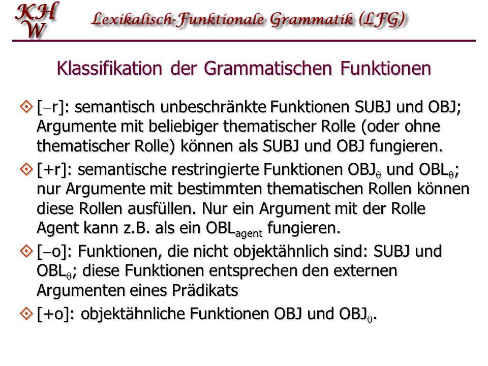 Klassifikation der Grammatischen Funktionen  [  r]: semantisch unbeschränkte Funktionen SUBJ und OBJ; Argumente mit beliebiger thematischer Rolle (o