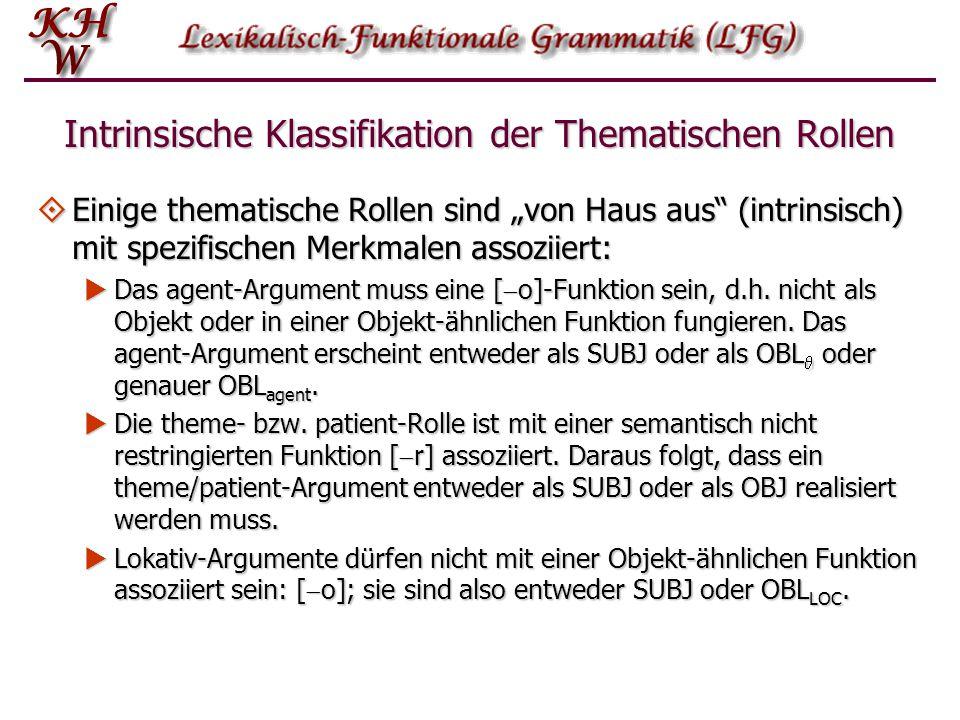 """Intrinsische Klassifikation der Thematischen Rollen  Einige thematische Rollen sind """"von Haus aus"""" (intrinsisch) mit spezifischen Merkmalen assoziier"""