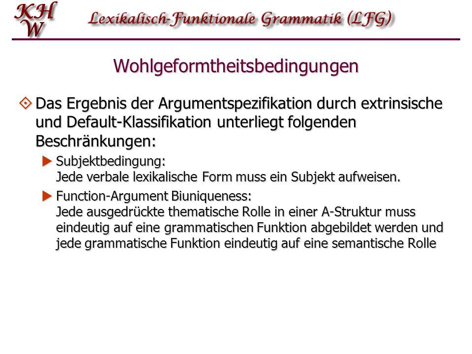 Wohlgeformtheitsbedingungen  Das Ergebnis der Argumentspezifikation durch extrinsische und Default-Klassifikation unterliegt folgenden Beschränkungen