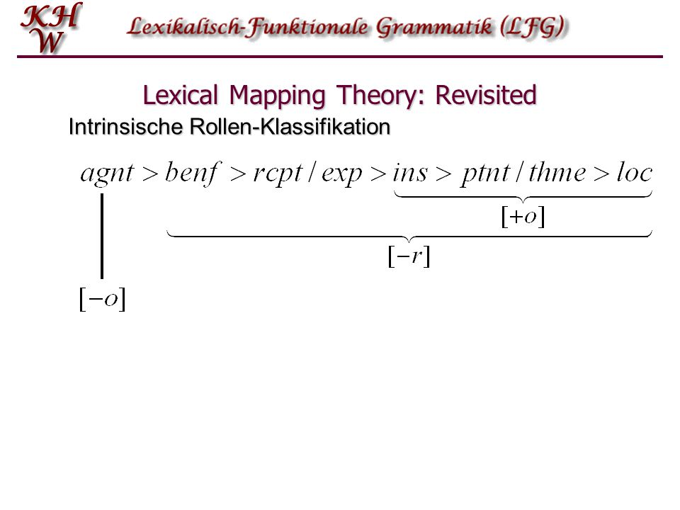 Lexical Mapping Theory: Revisited Intrinsische Rollen-Klassifikation