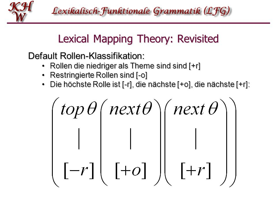 Lexical Mapping Theory: Revisited Default Rollen-Klassifikation: Rollen die niedriger als Theme sind sind [+r]Rollen die niedriger als Theme sind sind [+r] Restringierte Rollen sind [-o]Restringierte Rollen sind [-o] Die höchste Rolle ist [-r], die nächste [+o], die nächste [+r]:Die höchste Rolle ist [-r], die nächste [+o], die nächste [+r]: