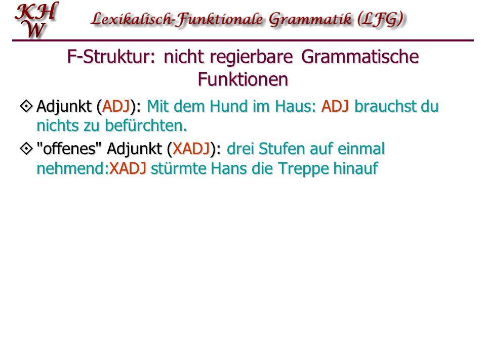 F-Struktur: nicht regierbare Grammatische Funktionen  Adjunkt (ADJ): Mit dem Hund im Haus: ADJ brauchst du nichts zu befürchten. 