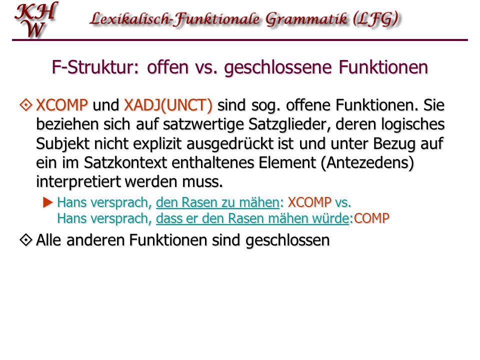 F-Struktur: offen vs. geschlossene Funktionen  XCOMP und XADJ(UNCT) sind sog. offene Funktionen. Sie beziehen sich auf satzwertige Satzglieder, deren