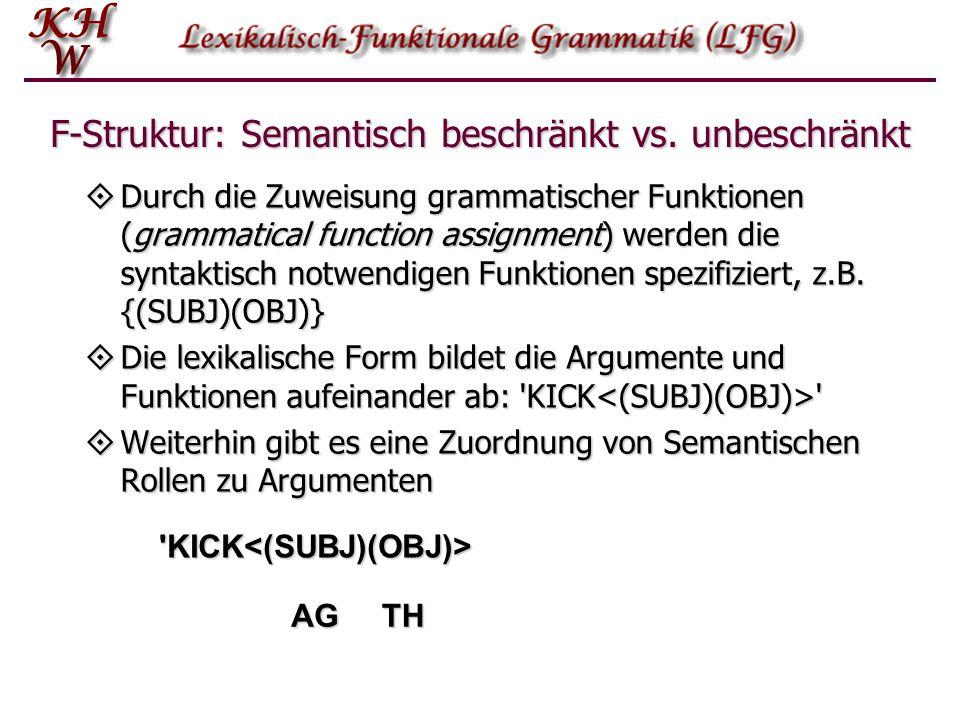 F-Struktur: Semantisch beschränkt vs. unbeschränkt  Durch die Zuweisung grammatischer Funktionen (grammatical function assignment) werden die syntakt