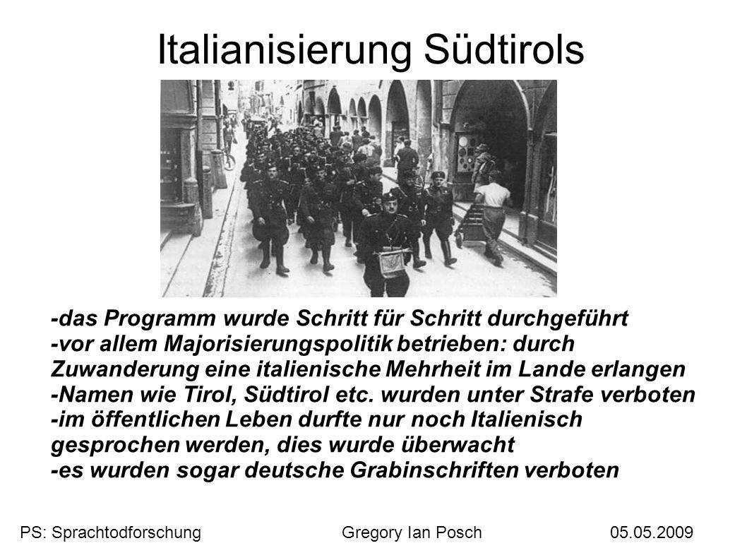 Italianisierung Südtirols -das Programm wurde Schritt für Schritt durchgeführt -vor allem Majorisierungspolitik betrieben: durch Zuwanderung eine ital