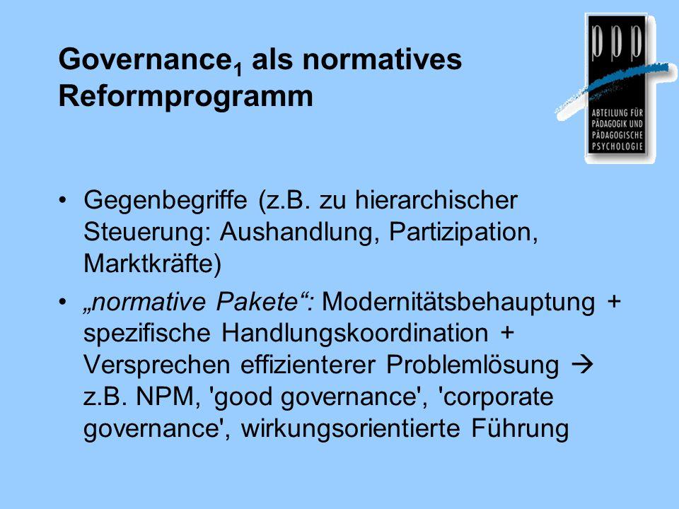 Governance 1 als normatives Reformprogramm Gegenbegriffe (z.B.