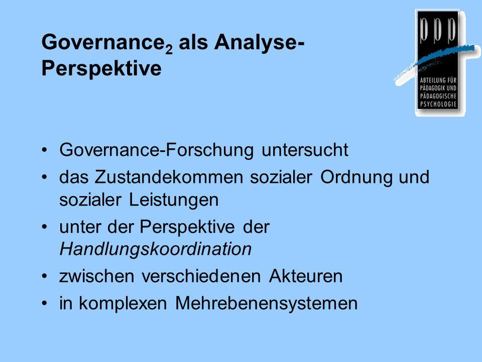 Governance 2 als Analyse- Perspektive Governance-Forschung untersucht das Zustandekommen sozialer Ordnung und sozialer Leistungen unter der Perspektive der Handlungskoordination zwischen verschiedenen Akteuren in komplexen Mehrebenensystemen