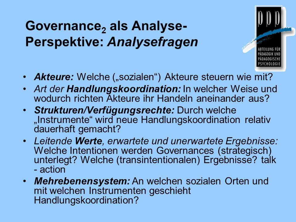 """Governance 2 als Analyse- Perspektive: Analysefragen Akteure: Welche (""""sozialen ) Akteure steuern wie mit."""