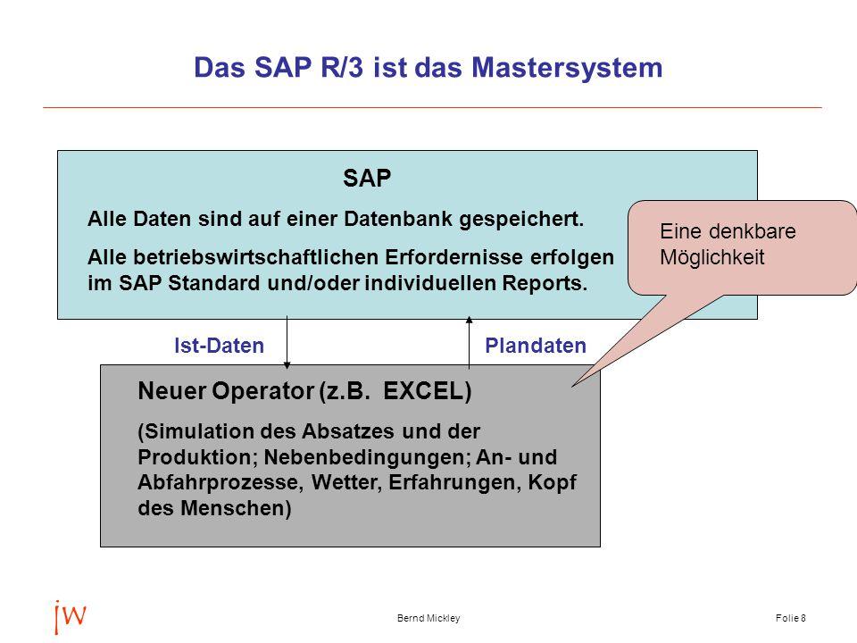 jw Bernd MickleyFolie 9 Die allgemeine BilanzgleichungI B (VP) + P – A – S – E + Z – B = 0 B = Bestand (VP vorhergehende Planungsperiode) P = Produktion A = Absatz S = Sekundärbedarf E = Eigenbedarf Z = Zukauf Jeder Term in der Bilanzgleichung ist eine Menge (pro Mengeneinheit), die im SAP durch eine oder mehrere Materialnummern identifiziert wird.
