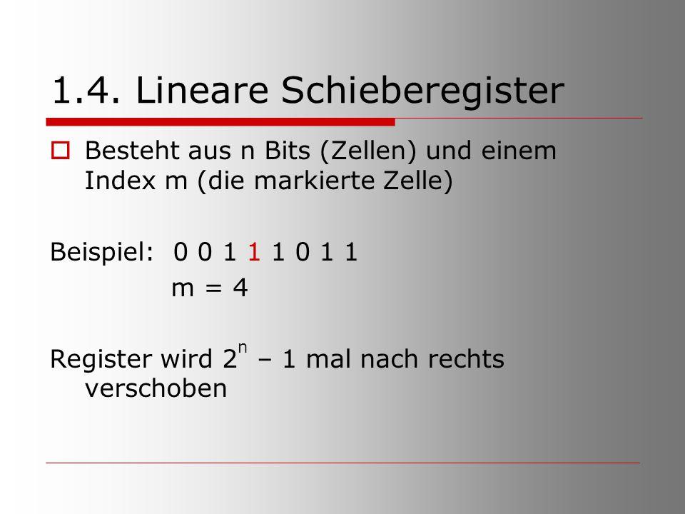 1.4. Lineare Schieberegister  Besteht aus n Bits (Zellen) und einem Index m (die markierte Zelle) Beispiel: 0 0 1 1 1 0 1 1 m = 4 Register wird 2 n –