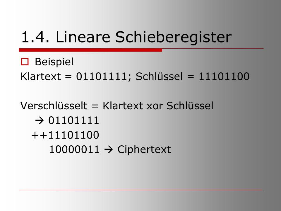 1.4. Lineare Schieberegister  Beispiel Klartext = 01101111; Schlüssel = 11101100 Verschlüsselt = Klartext xor Schlüssel  01101111 ++11101100 1000001