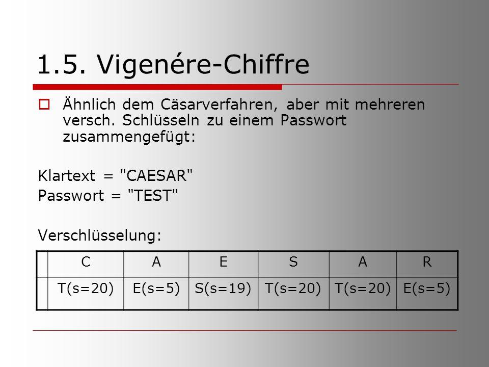 1.5. Vigenére-Chiffre  Ähnlich dem Cäsarverfahren, aber mit mehreren versch. Schlüsseln zu einem Passwort zusammengefügt: Klartext =