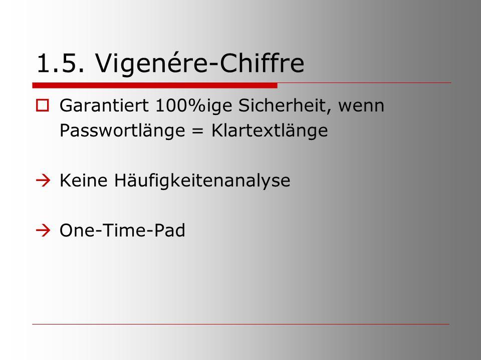 1.5. Vigenére-Chiffre  Garantiert 100%ige Sicherheit, wenn Passwortlänge = Klartextlänge  Keine Häufigkeitenanalyse  One-Time-Pad
